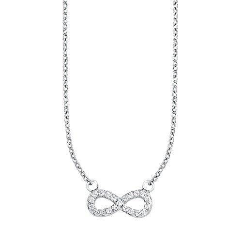 S.Oliver Kinder Kette mit Infinity/Unendlichkeitszeichen 925 Sterling Silber Zirkonia 37+3 cm weiß