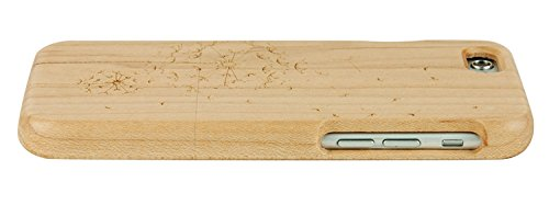SunSmart Einzigartigen, handgefertigten Original Natural Wood Holzfest Bambus Case/Hülle/Tasche für iPhone 6 4.7''(Farbstreifen) Löwenzahn Ahorn