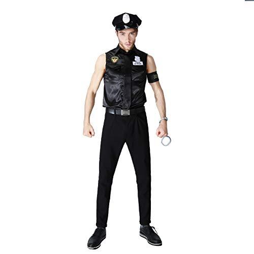 SHIQUNC Sexy Paar Polizei Spiel Uniform Halloween Rollenspiel Anzug, (Kostüm Cravate Noir)