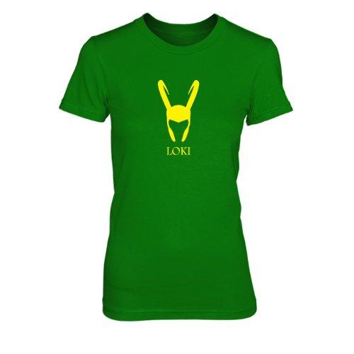 Loki - Damen T-Shirt, Größe: XL, Farbe: grün (Avengers 2 Age Of Ultron Captain America Kostüm)