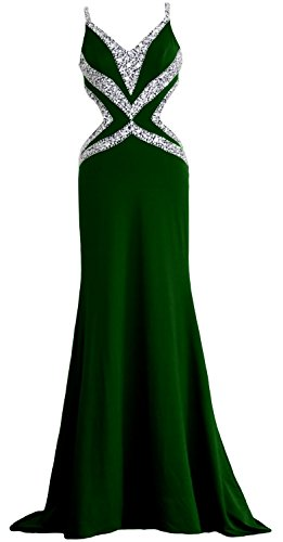 MACloth Women Mermaid V Neck Jersey Long Prom Dress Formal Evening Party Gown Dark Green