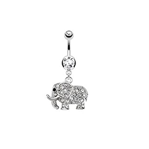 Paula & Fritz® Stainless Steel 316L Surgical Steel Belly Bar with,...