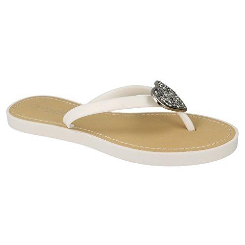 Savannah Damen Flip Flops mit Glitter Herz Akzent Weiß
