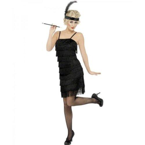 Smiffys Damen Fringe Flapper Kostüm, Kleid und Stirnband mit Feder, Größe: S, (Fringe Flapper Kostüm)