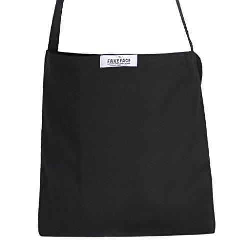 1010aadfebf20 Damen Schultertasche Umhängetasche mit einem Schulterriemen Canvas  Einfarbig Handtasche einfach praktisch für Einkauf Wandern Ausflug Farbwahl  Schwarz