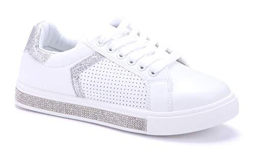 Schuhtempel24 Damen Schuhe Low Sneaker Silber flach Ziersteine/Glitzer