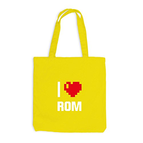 Jutebeutel - I Love Rom - Italien Reisen Herz Heart Pixel Gelb