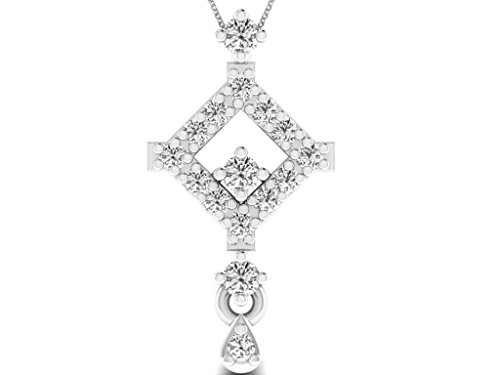 Or Blanc 9 ct Pendentifs Diamant , 0.08 Ct Diamant, GH-SI, 0.44 grammes.