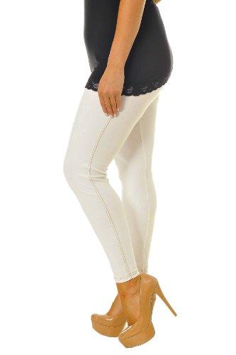 Neu Damen Übergröße Plain Elastische Jeggings Frau Plus Size Gamaschen Nouvelle Collection Weiß