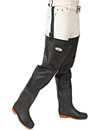 YAANCUN Fishing Fully Waterproof Pair of Hip Thigh Waders PVC with Quality Boots for Fishing Hunting