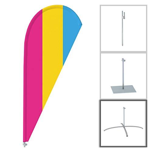 Vispronet Beachflag - Regenbogen 3 ✓ versch. Halterungen ✓ Tropfenform ✓ Segel Höhe 2,09 m ✓ Vollständig Bedruckt ✓ Transporttasche (Kreuzfuß mit Rotator)