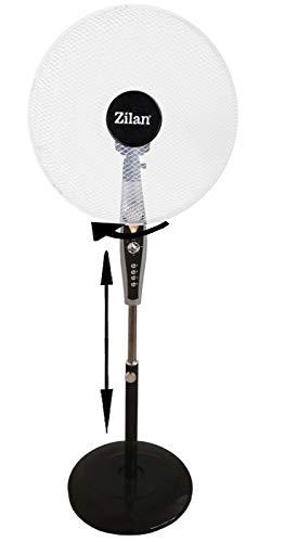 Preisvergleich Produktbild Standventilator 50 Watt mit 60 min.Timer | Oszillierender Ventilator | Leiser Betrieb | Windmaschine | Klimagerät | Luftkühler | Bodenventilator | Fan | 3 Stufen | LED Nachtlicht | Höhenverstellbar