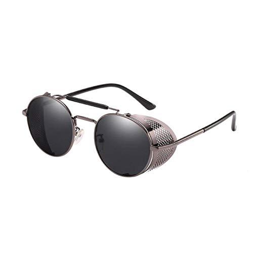AOCCK Brillen Sonnenbrillen Steampunk Sunglasses Women Round Glasses Goggles Men Side Visor Circle Lens Unisex Vintage Retro Style Punk Oculos De Sol L0 as shown7