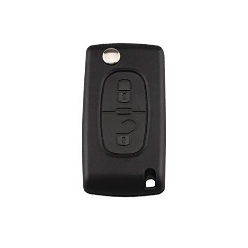 2 Boutons Télécommande Clé Voiture Télécommande Alarme Flip Clé Auto Fob pour PSA Peugeot Citroen Slotless - Noir