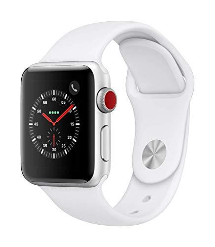 AppleWatchSeries3 (GPS+Cellular) concaja de 38mm de aluminio enplata ycorrea deportiva blanca