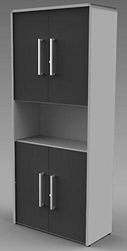 MODUS Kombischrank 5OH Aktenschrank Büroschrank Schrank Türenschrank Lichtgrau/Anthrazit