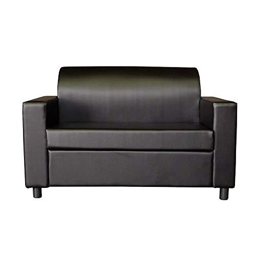 Divano 2 posti con braccioli divanetto attesa design in eco pelle nero