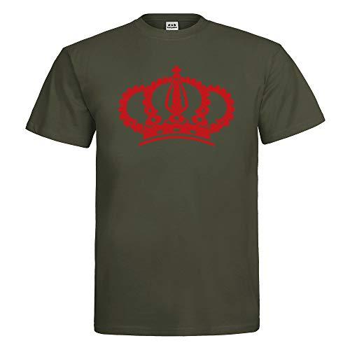 Herren T-Shirt Krone Crown Grafik Symbol Textil Khaki Motiv rot Gr. ()