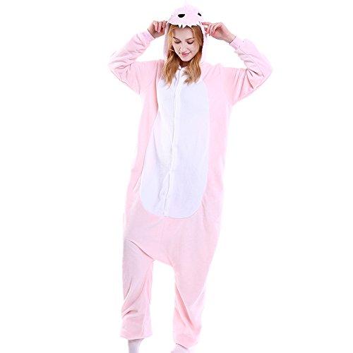 LSHEL Erwachsenen Tier Pyjama Jumpsuit Cosplay Unisex Cartoon Karneval Halloween Kostüm Fleece Overall Pyjamas, Rosa Dinosaurier, XL (empfohlene Höhe 173-186 cm) (Rosa Dinosaurier Kostüm)