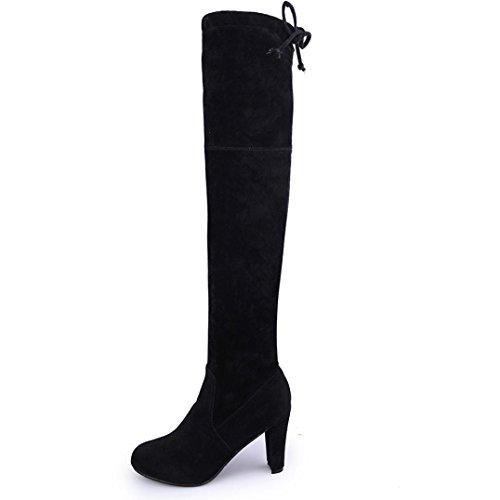 35~39,Amlaiworld Donne Faux leather Slim tacchi stivali sopra il ginocchio stivali alti nero