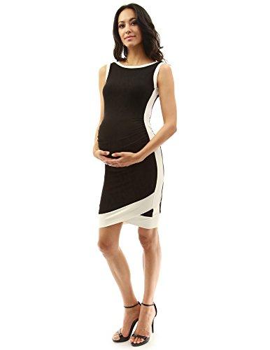PattyBoutik Mama Damen Boot Hals Ärmellos Tulpe Mutterschaft Kleid (Schwarz und Elfenbein 40/M) (Kleid-boote Damen)