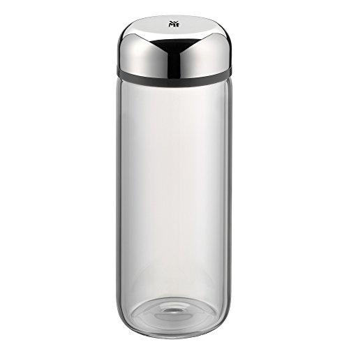 WMF Basic Trinkflasche, 500 ml, Höhe 19 cm, Glasflasche, für Warm- und Kaltgetränke, Glas, Cromargan Edelstahl, in Geschenkkarton, grau