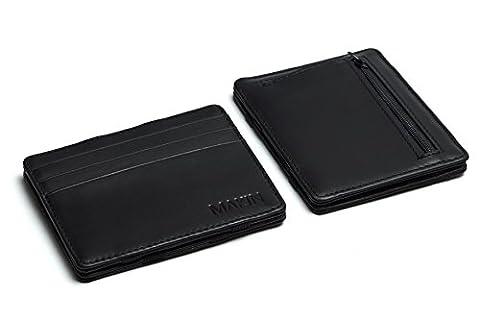 Design Magic Wallet Geldbörse mit Münzfach und RFID-Blocker – Premium Portemonnaie aus hochwertigem Echtleder – flacher Geldbeutel in schwarz/black