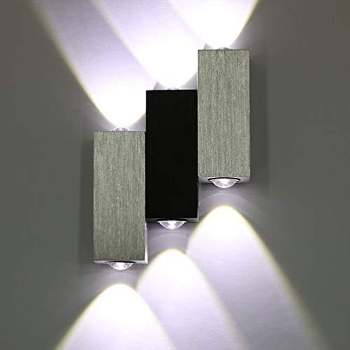 Lightess Applique Murale 6 LEDs Intérieur 6W Lampe Décorative Moderne Créatif Originale Éclairage Design Lumiaire Aluminium pour Chambre Maison Couloir Salon Escalier Bureau Blanc Froid
