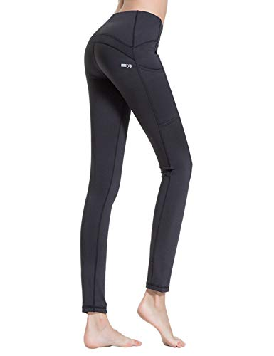 Croslimit Damen Yoga Leggings - Upgrade hoher bund Tummy Control - Hidden Pocket - Plus Size Sport Leggings Running Tights Training hose Casual Trousers (S, Schwarz(Seiten tasche)) - Shapewear Tummy Control
