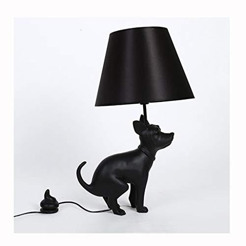 en Kreative Stehleuchte - Harzstoffbezug Big Dog Stehleuchte Beleuchtung/Wohnzimmer Hotel Club Art Black Dog Tischlampe (Farbe : Table lamp) ()