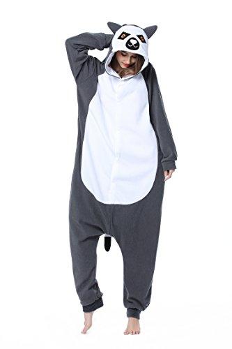 Ring Schwanz Lemur Tier Schlafanzug Unisex Pyjama Halloween Karneval Erwachsene Cosplay Kostüm Onesie (L - Größe passt für Höhe 168cm-178cm, Ring Schwanz (Erwachsene Tier Für Die Kostüme)