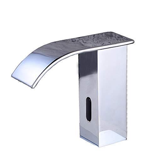 Fyeer Infrarot Sensor Wasserhahn Automatisch Induktion Badarmatur Wassersparen Waschtisharmatur Handwaschbecken Batteriebetrieb Chrom kaltwasser -