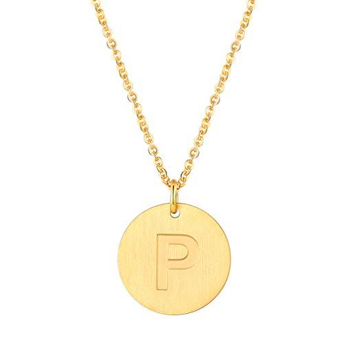 PROSTEEL Buchstabe P Collier Damen 18k vergoldet Runde Initiale Gravur Anhänger mit 51cm Rolokette goldenfarben 20mm Münze Kette für Mädchen Halskette Geburtstag