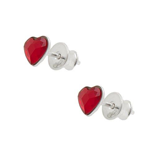 Galaxy gioielli argento 925 Orecchini con autentica cristalli rossi Cuore Swarovski - Ideale elegante regalo per le donne e le ragazze in una scatola regalo - Impress con il tuo stile