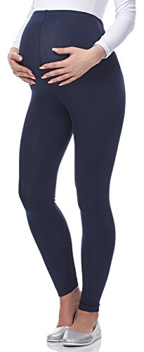 Be Mammy Lange Umstandsleggings aus Viskose BE-02 (Marineblau, XL)