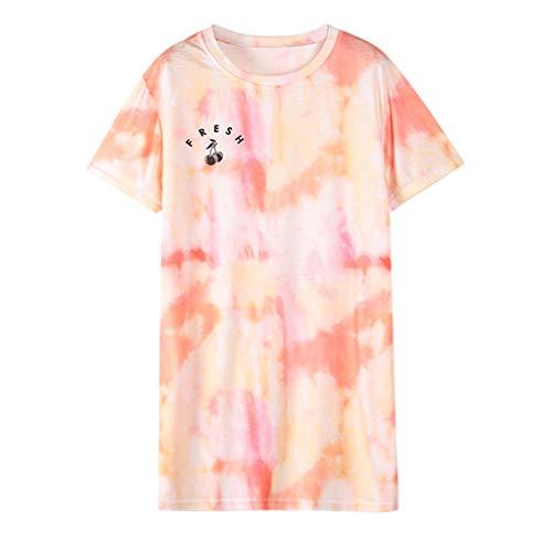 Batik-print Top (Oyedens Oberteile Damen Sommer, Bluse Damen Kurzarmdamen Batik T-Shirt Kurzarm Top Print Loose Fit Blusehemd Damen Kariert)