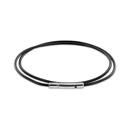 AURORIS Halskette / Armband - Kautschukband schwarz Dicke 2mm mit Hebeldruckverschluss aus 304 Edelstahl - Länge: 50cm