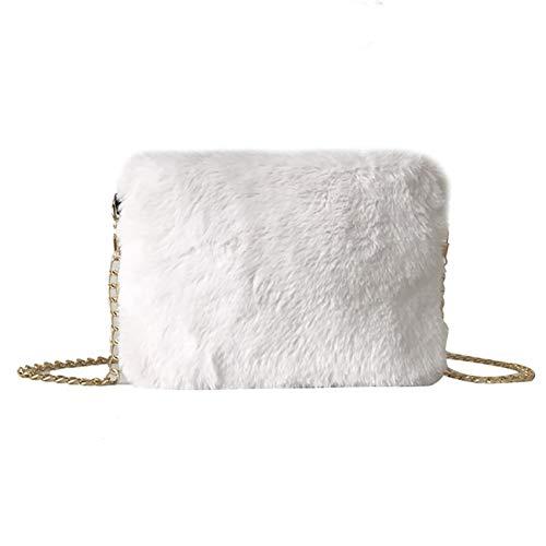 Borsa a tracolla donna pelose con tracolla a tracolla versatile di pelliccia di catena moda vintage classico casual selvaggio per shopping partito outdoor (taglia unica, bianco)