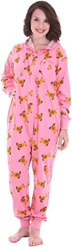 Funzee Schlafoverall, Schlafanzug damen, Hausanzug, Einteiler, Jumpsuit, Pyjama, Overall Erwachsenenstrampler CUTE (XS-L) (Large)