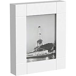 HS-Lighting Armoire à clés avec Cadre Photo et boîte à clés 11 Crochets en Bois Blanc 29 x 35 x 6 cm