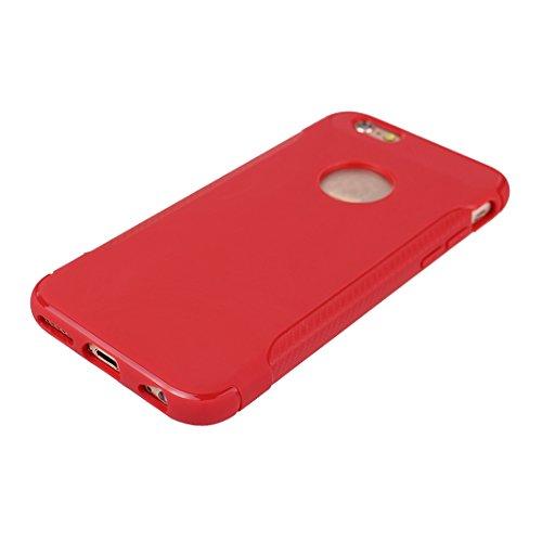 Lot de 2 Housse iPhone 6S Protection Case, Coque iPhone 6 Arrière Etui, Moon mood® Coque iPhone 6S Silicone, Doux TPU Couverture de Protection pour Apple iPhone 6 4,7 pouces Soft Case Cover Bumper She Rouge