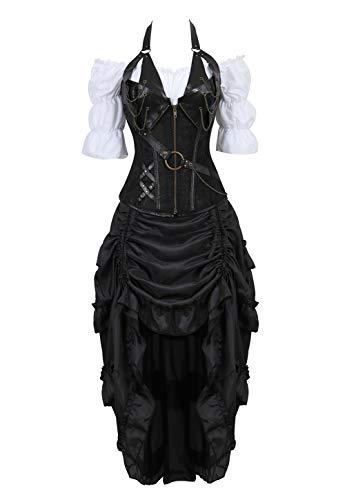 Grebrafan Steampunk Neckholder Corsage Kostüm mit Pirat Spitzenrock und Bluse - für Karneval Fasching Halloween (EUR(48-50) 6XL, Schwarz)