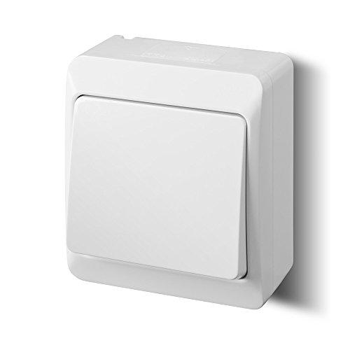 Lichtschalter Aufputz weiss einfach IP44 Feuchtraum geeignet Schalterserie
