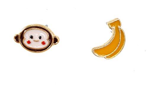 (Cute Cheeky Monkey und Banana Small Island Ohrringe (in Organza Tasche))