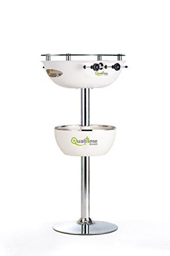 Tischkicker mit Getränkekühler Partytisch Stehtisch 120 cm weiß Kicker
