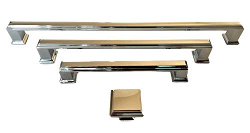 Griffe und Knöpfe, Art-Deco-Stil, 6 Stück, 128 mm, 192 mm, 288 mm Quadratische Knöpfe Poliertes Chrom. für Küchenschrank Allgemeinmöbel von FFF, 192mm between fixings