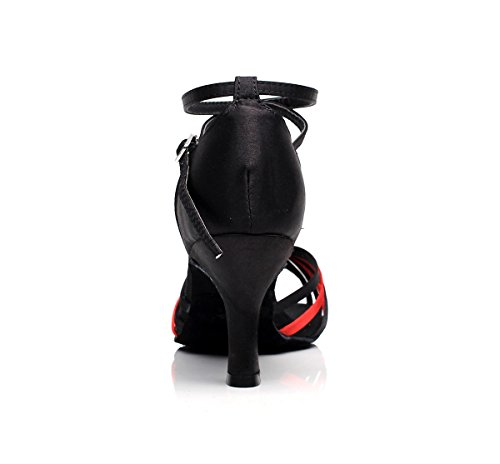 Minitoo ,  Damen Tanzschuhe Black/Red-7.5cm Heel