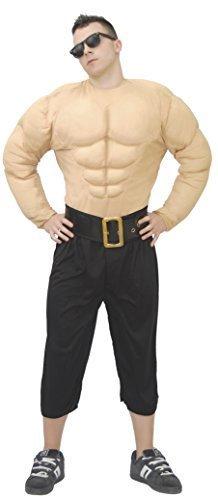 Boxer-outfit (Herren Muskel Brust Hemd starker Man Boxer Fitnessstudio Türsteher Body Guard Wrestler Six-Pack Kostüm Kleid Outfit groß - Beige, Large)