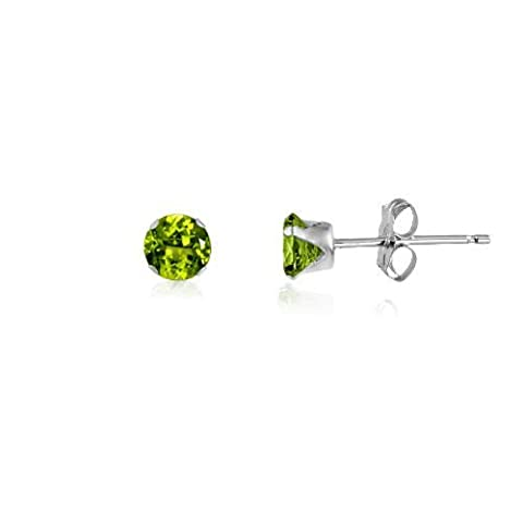 3MM Classic Brilliant Round Cut CZ Sterling Silver Stud Earrings - PERIDOT GREEN or Choose From 13 Colours. 3-PERI
