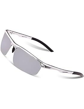 Gafas de sol polarizadas de los gafas de sol del estilo de los deportes de los hombres de Duco 8550 (plata - espejo...